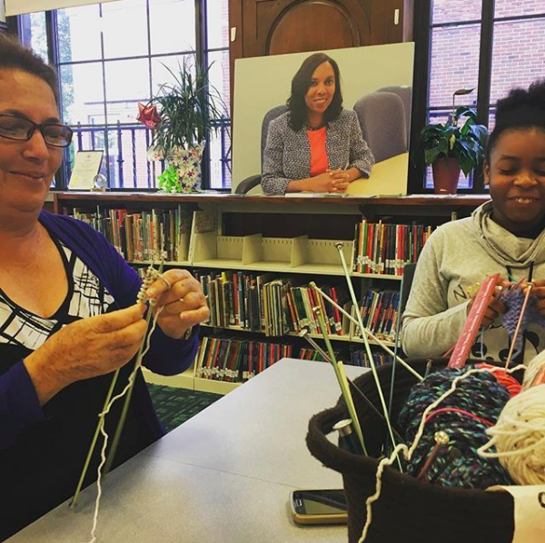 Here's an image from the Olneyville Library. Welcome Blanket is a great opportunity to get together with neighbors.
