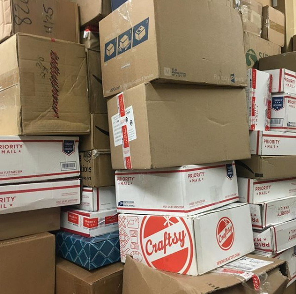 Here's a peak at the incredible piles of packages ready for unpacking!
