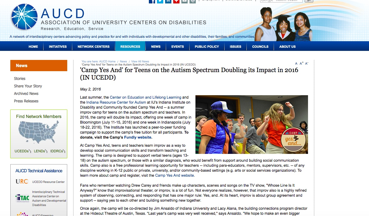'Camp Yes And' for Teens on the Autism Spectrum Doubling its Impact in 2016