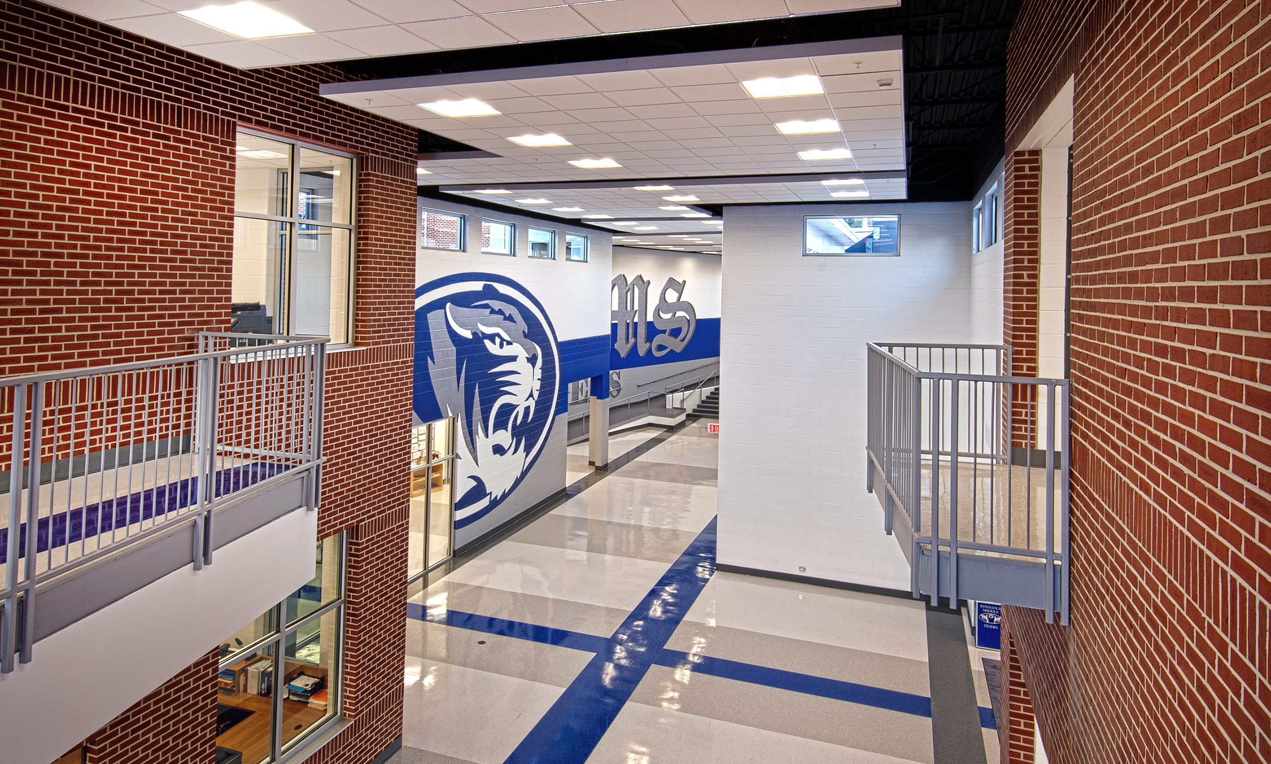 Ringgold Middle School   After a tornado severely damaged the Middle School in 2011 this new 42,000 sf 8th Grade Wing was constructed, providing 22 classrooms including art, chorus, and band.  The design of the addition is part of a new master plan for future expansion.