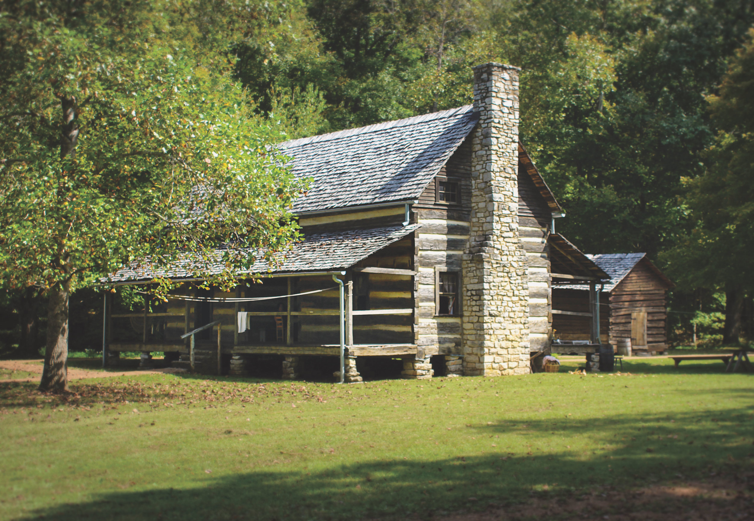An original 1850's log cabin, now a living history museum and known as The Homeplace.