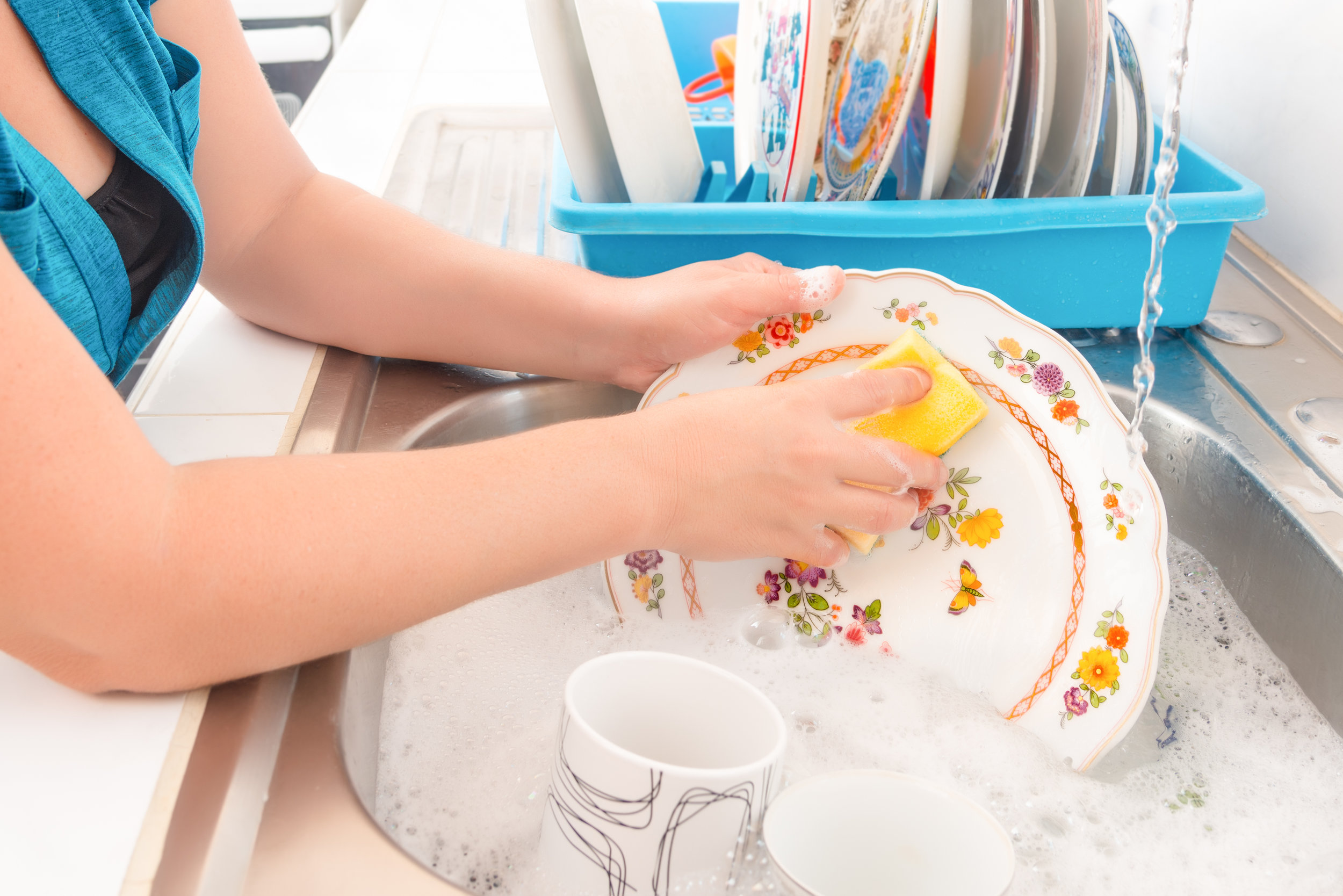 Wash your dishes by hand once or twice a week. - Do you know how much water your dishwasher uses? I'm willing to bet that it's a lot of water, even if you have an energy-saving model. Washing your dishes by hand may take a bit more time and effort, but it'll save gallons upon gallons of water in the long run.