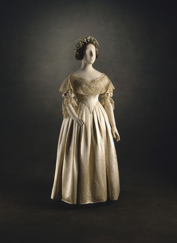 Photo of Queen Victoria's wedding dress provided by Royal Collection Trust