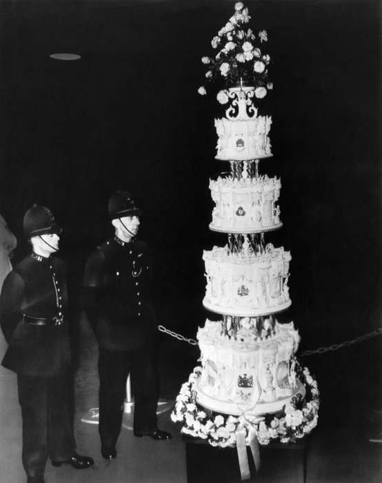 Queen Elizabeth II's wedding cake photo provided by Hello Magazine