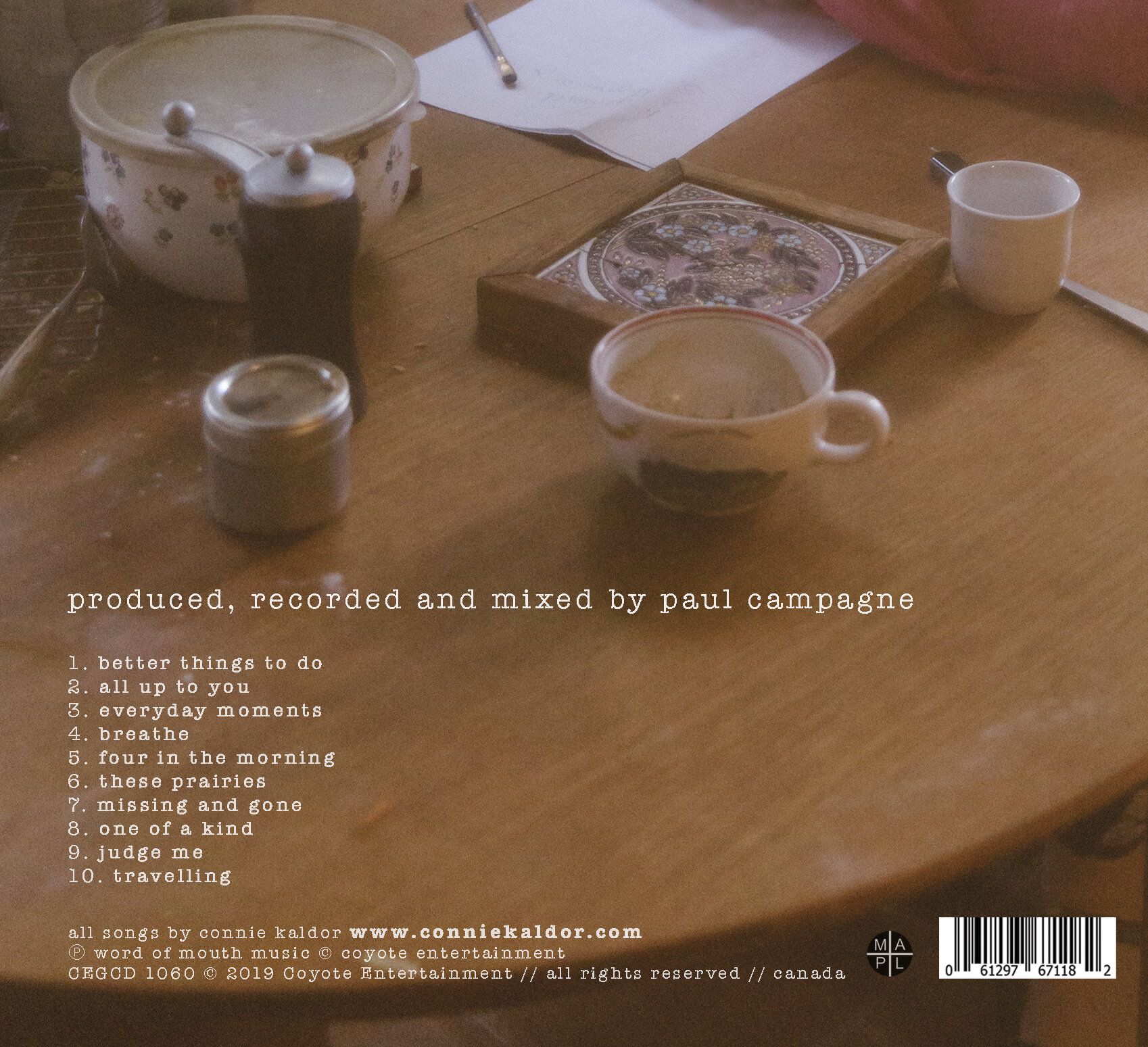 The back cover of the latest recording