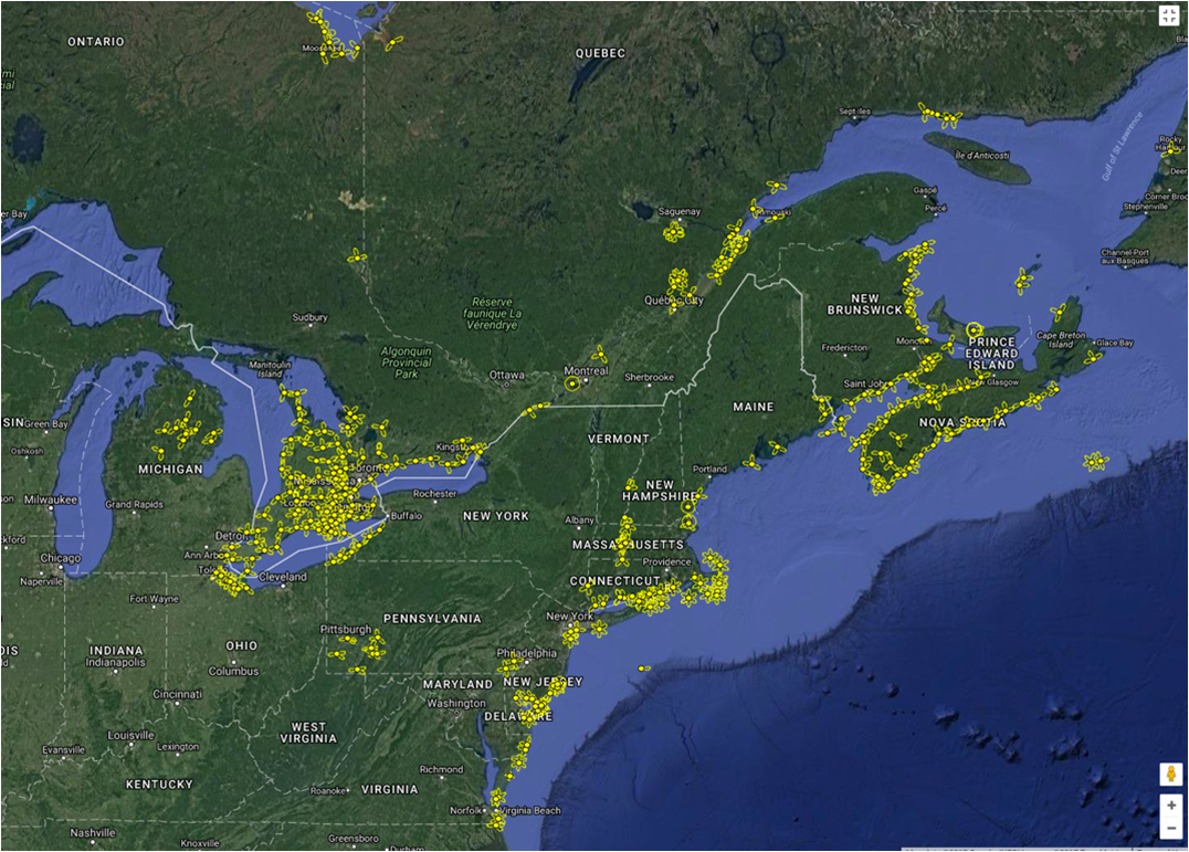 Shown in yellow are Motus receiver stations in the Northestern United States and Canada prior to 2017. Notice the coastal nature of the array.