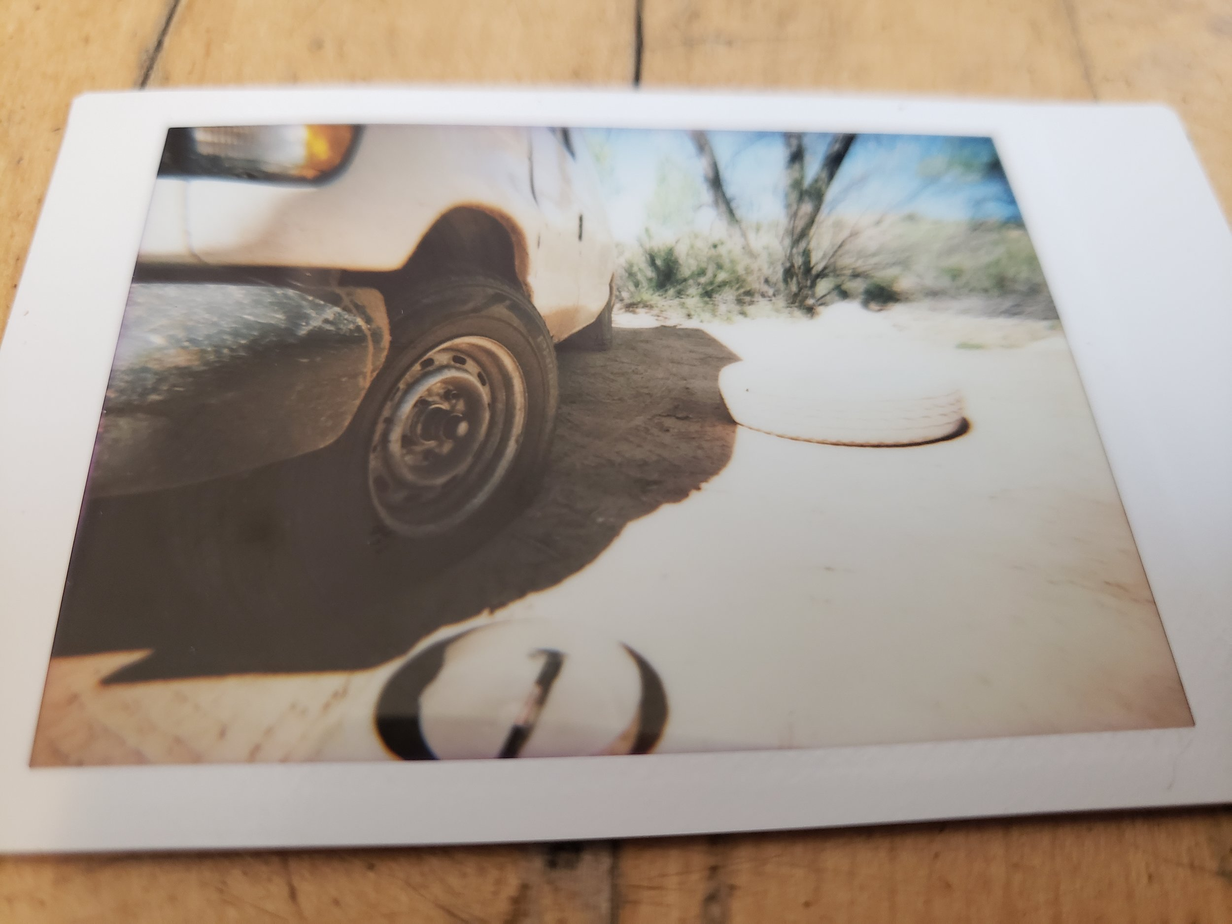 Utah 2019- Alyssa Johnson - Blind Spot Creatives - Photography - Zion National Park - Flat Tire - Poloroid