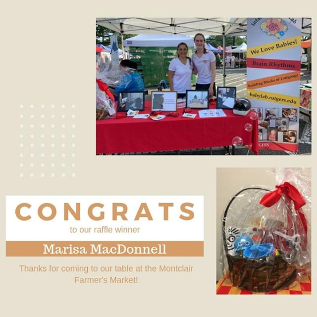 Thank you to everyone who came to our table at the  Montclair Farmers' Market despite the hot summer weather.  Congratulations to our raffle winner, Marisa MacDonnell, who will be receiving a basket full of brand new baby toys and books. #montclairmoms #montclairdads