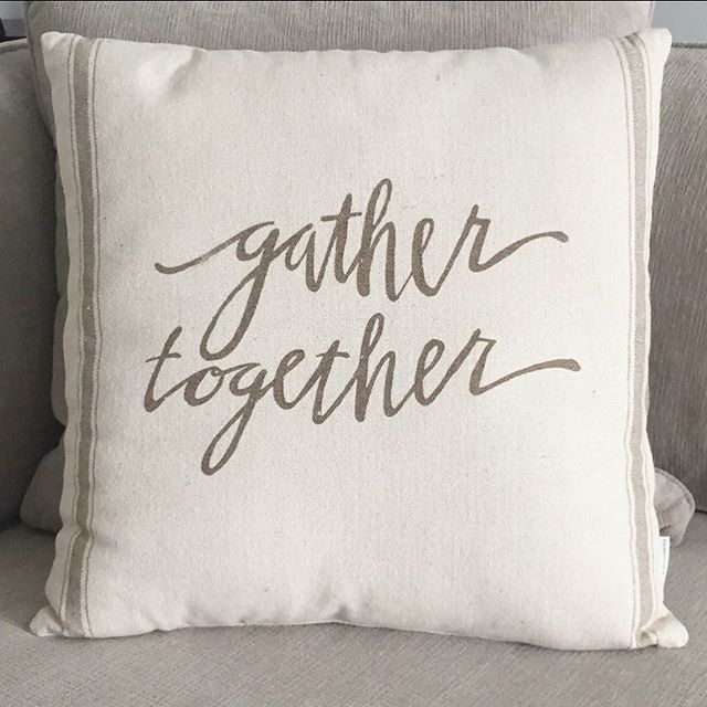 "This ""Gather Together"" pillow is the perfect accent pillow for your couch this season and throughout the year. $36 and #freeshipping! (Link in bio) . . . #homedecor #homemarket #homeinspo #gathertogether #shoponline #decorating #farmhousestyle #home #decorativepillows"