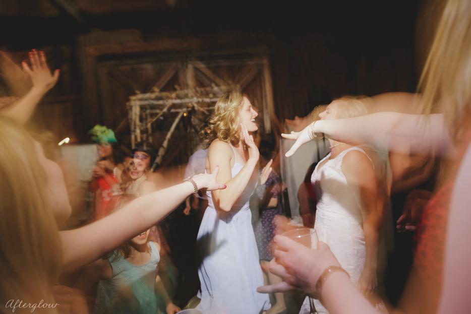 Wedding guests dancing at Ball's Falls Barn
