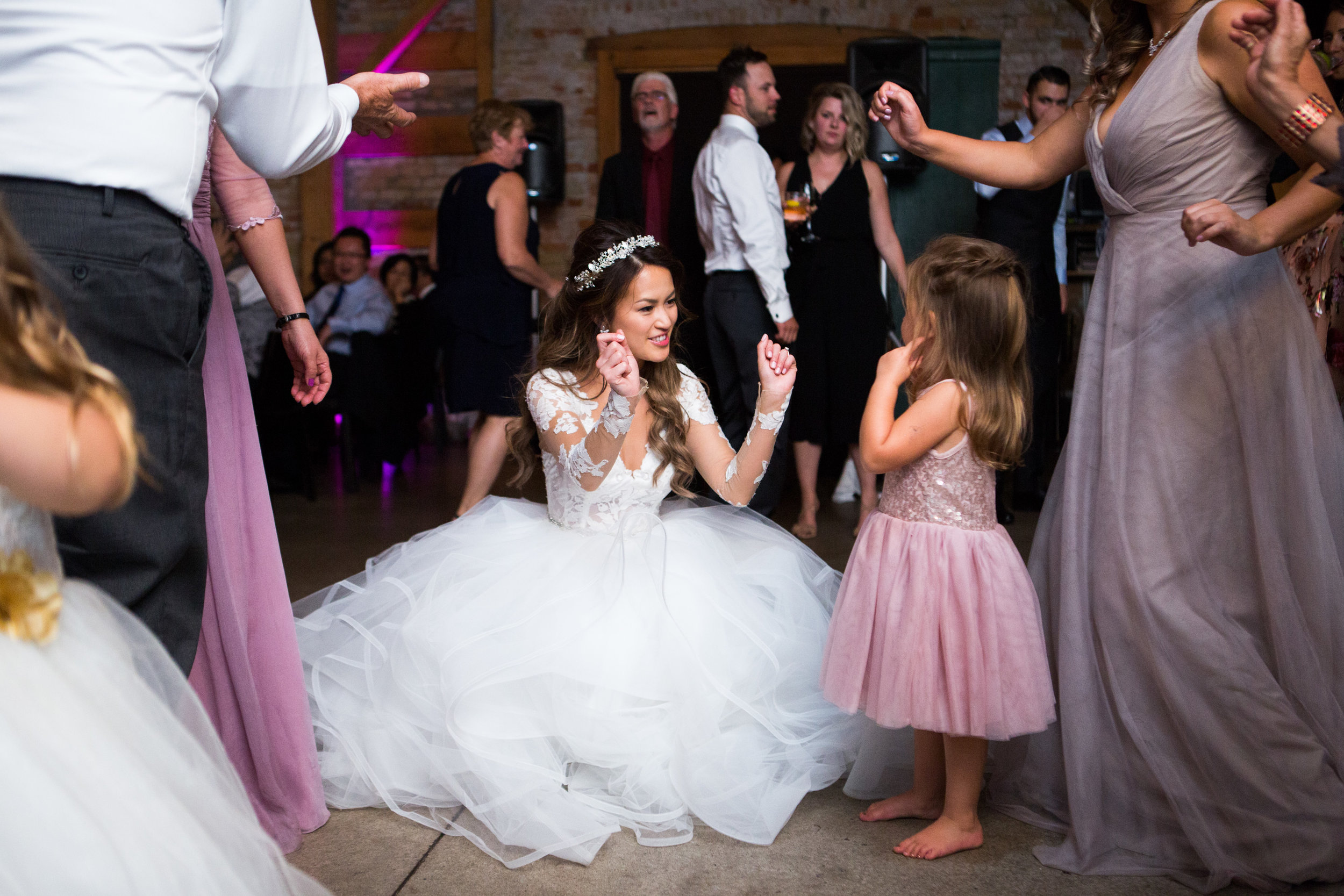 Bride with wedding guests at Archeo Distillery District Toronto