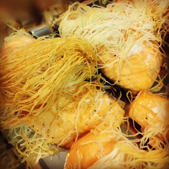 Kataifi-wrapped salmon with a lemon dill sauce