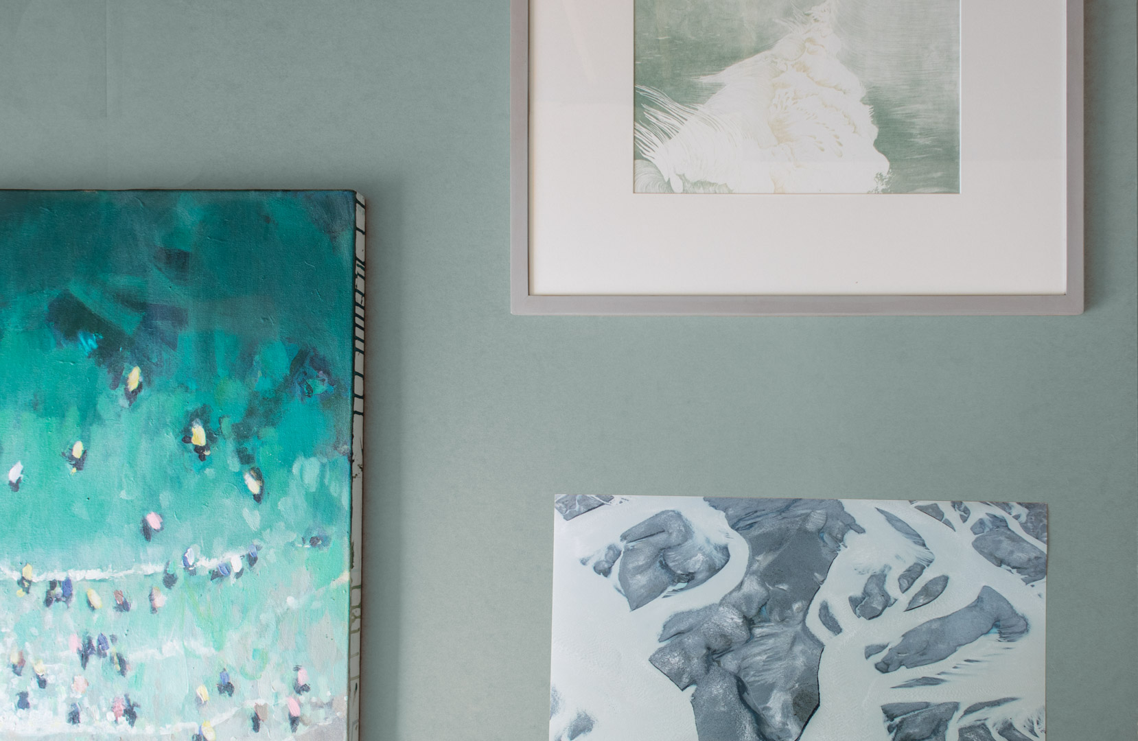 Our Below is featured from left,  Mother Ivey Surfers  by Nina Brooke,  Nacreous  by Mimi Robson and  Underneath VI  by Toby Butler. A curation that works great agains soft pastel backdrops.