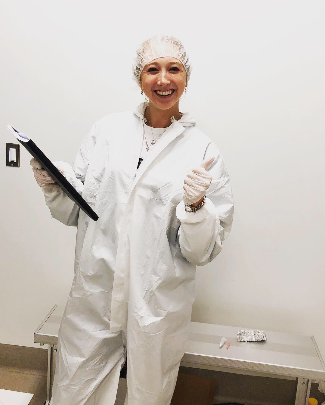 Bunny-suited up to repair our mass spectrometer in the clean room.