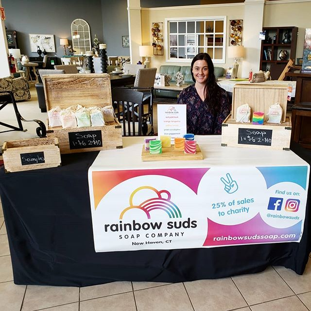 Tonight we have a booth at the Concepts for Adaptive Learning (CfAL) Touch-A-Truck event at Raymore & Flanigan in North Haven, CT! CfAL's mission is to increase computer access and literacy in underprivileged communities. Police, Fire, and EMS vehicles are here for kids to see up close! 🌈🌈www.rainbowsudssoap.com🌈🌈 #cfal #touchatruck #handmade #charity #rainbow #color #soap #allnatural #essentialoils #soapmaking #vegan #sustainable #sustainability #wedding #weddingfavors #gift #giftideas