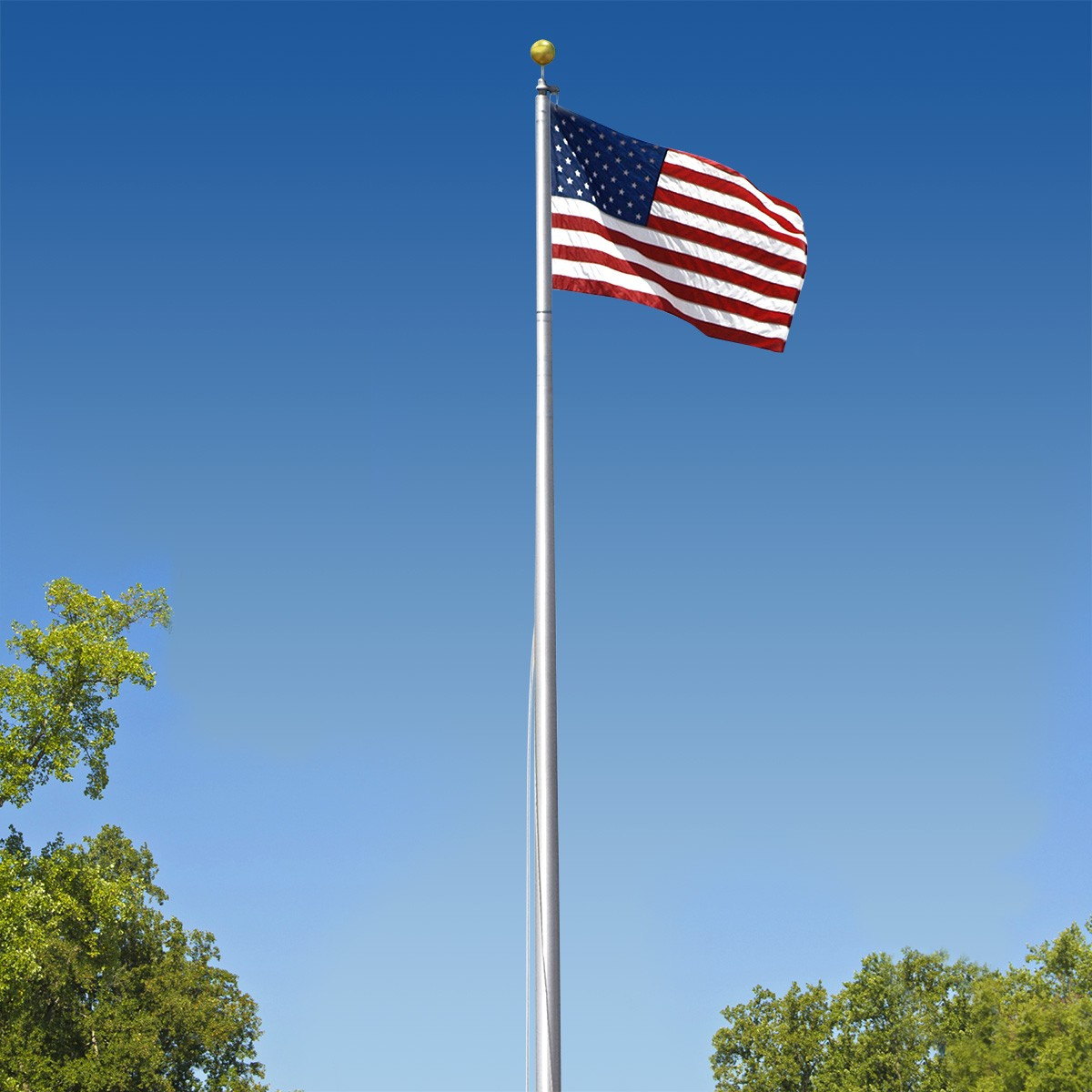Flagpoles by American Flag and Concord