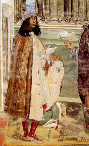 Self-portrait with badgers in a fresco at Monte Oliveto by Il Sodoma