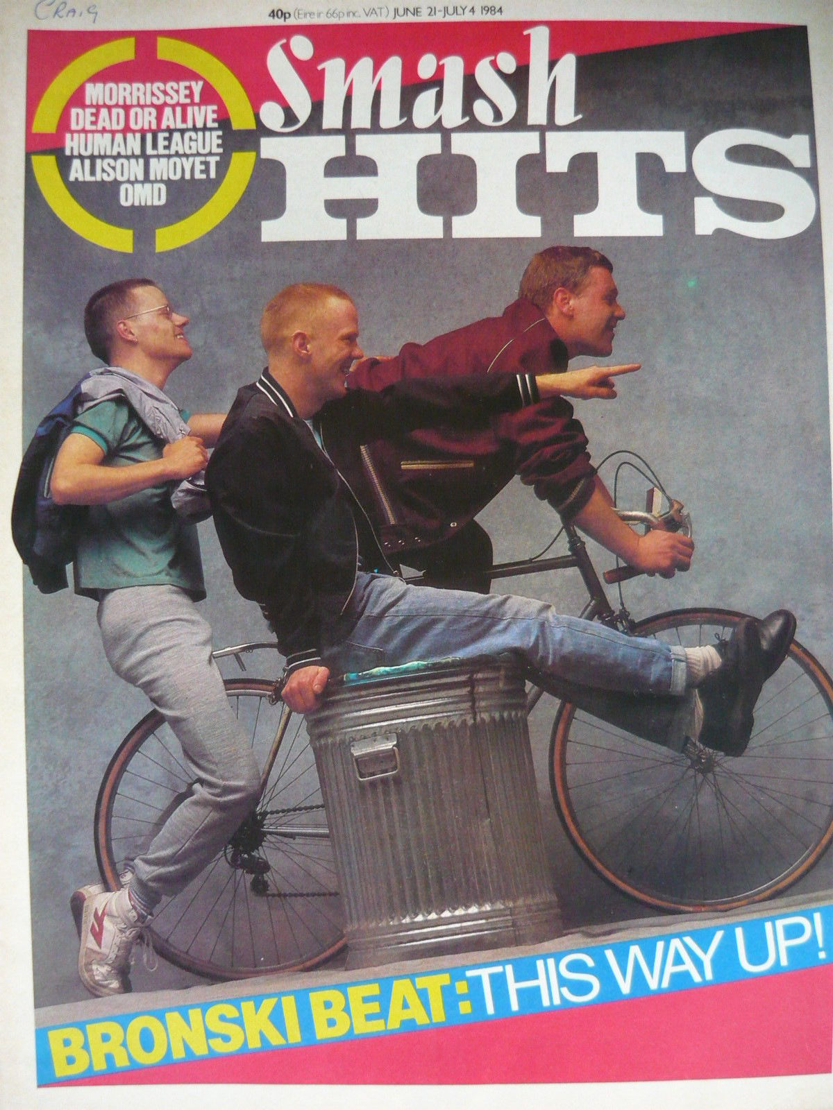 Bronski Beat on the cover of Smash Hits, 1984.
