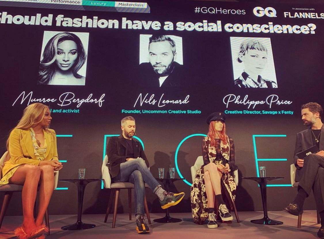 Jack Guinness chairs a discussion with  Philippa Price , Creative Director of Savage x Fenty,  Nils Leonard , founder of Uncommon Creative Studios and  Munroe Bergdorf , model and social activist, at the inaugural GQ Heroes summit