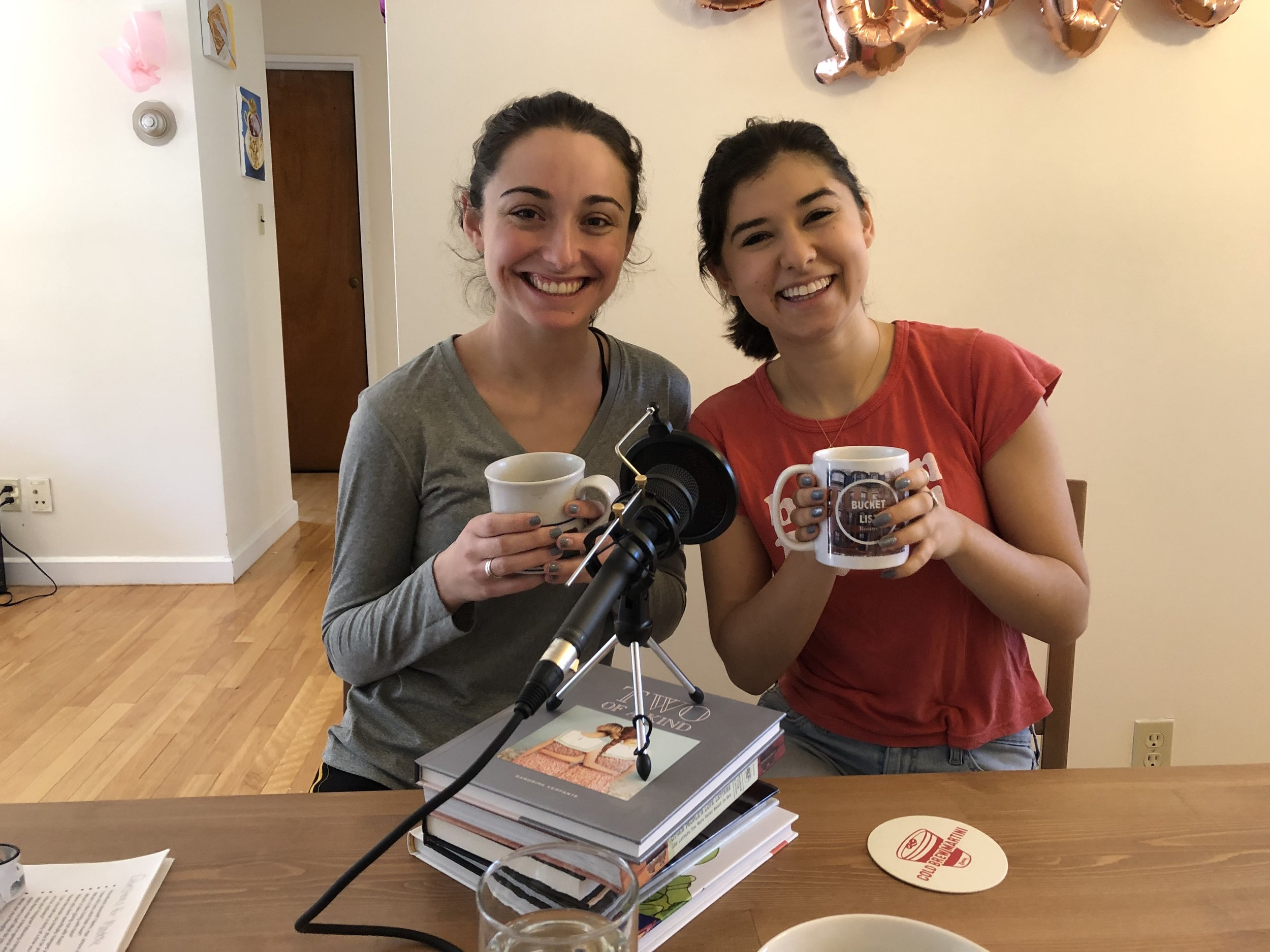 Kate and Maddie in their shared apartment on the day of our interview (check out the Bucket List Boston logo mug!)
