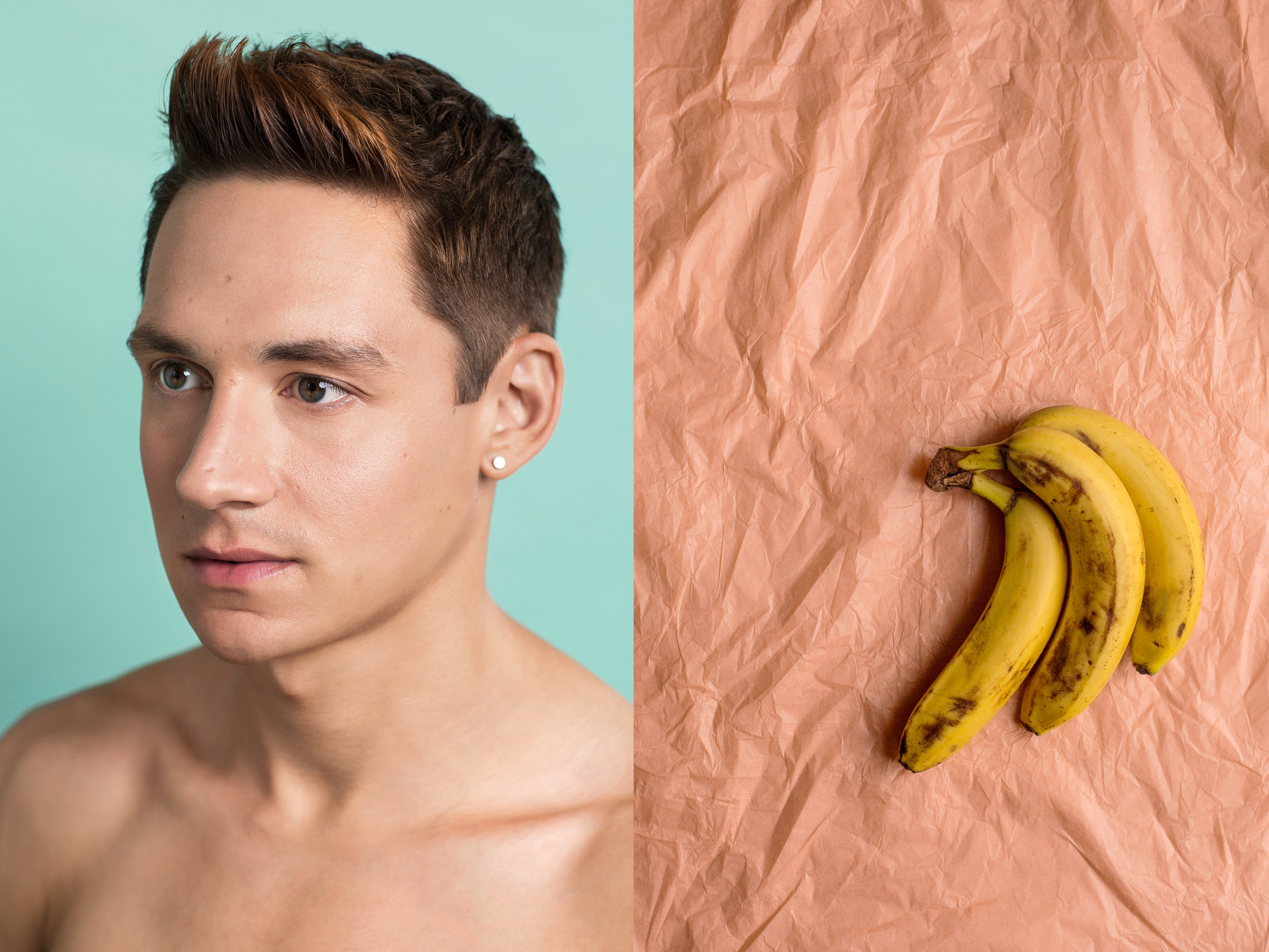 """James, 28, Bananas   """"My problems have been trivialised a lot of the time by medical professionals who think that I'm bananas for making myself sick. I developed OCD and depression around the age of 14. I had missed nearly a year of school as a result of symptoms around cleanliness. My anxieties switched from obsessions and compulsions around appearance to weight and shape and I began to control what I was eating in order to influence this. Professional help seemed to focus on superficial symptoms of my condition rather than the underlying emotional distress and anxiety. I now see more and more images of the perfect male body in the media, which from my perspective has put pressure on me to live up to this ideal. It is something I associate with achievement, likability and success."""""""