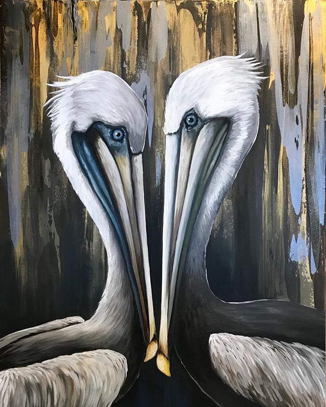 Lots of light against the dark tones. I can't help but think of gold and concrete when I look at this one.💡✨🌟⚡️ #lovebird #lovebirds #valentines #louisianaart #southernartist #originalart #arstagram #louisianaartist #contemporaryart #brownpelican #brownpelicans #pelicans