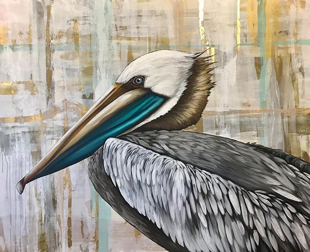 """A V A I L A B L E 48x60 """"Gulf Coast King"""" Pm for more pricing. #leahmmoraceart #pelicanpainting #brownpelican #pelicans #louisianaartist #louisianaart #louisianabirds #gulfcoast #gulfcoastart #gulfcoastbirds #gulf #waterfowl"""