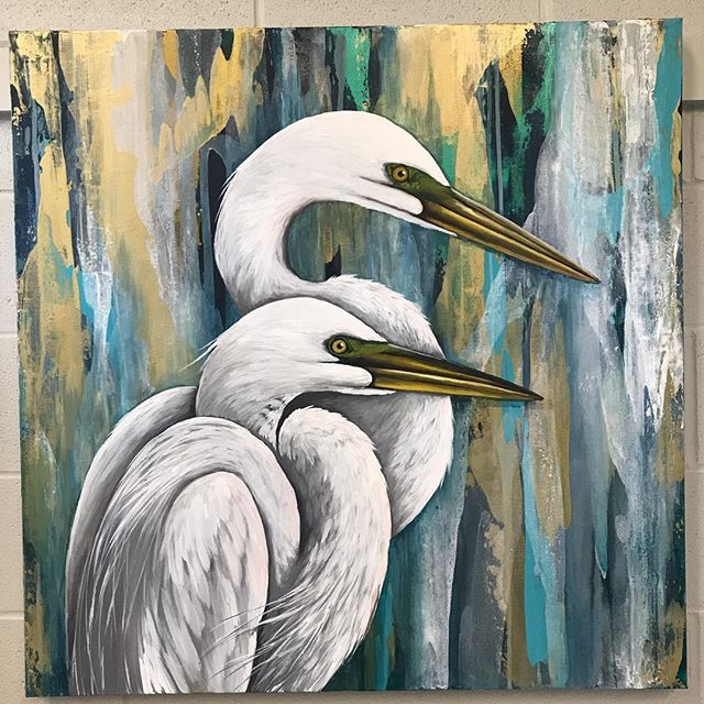 "AVAILABLE: 36x36 ""Egrets at Attention"" #leahmmoraceart #egretpainting #birdpainting #louisianatravel #louisianaart #louisianaartist #louisianalife #louisianaproud #artforsale #coastalart #coastalartist #coastalartists #gulfcoastartist"