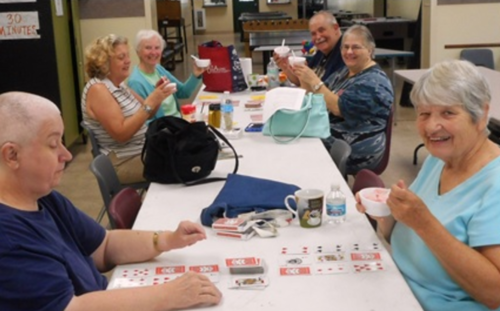 Image: Life Enrichment participants playing card games