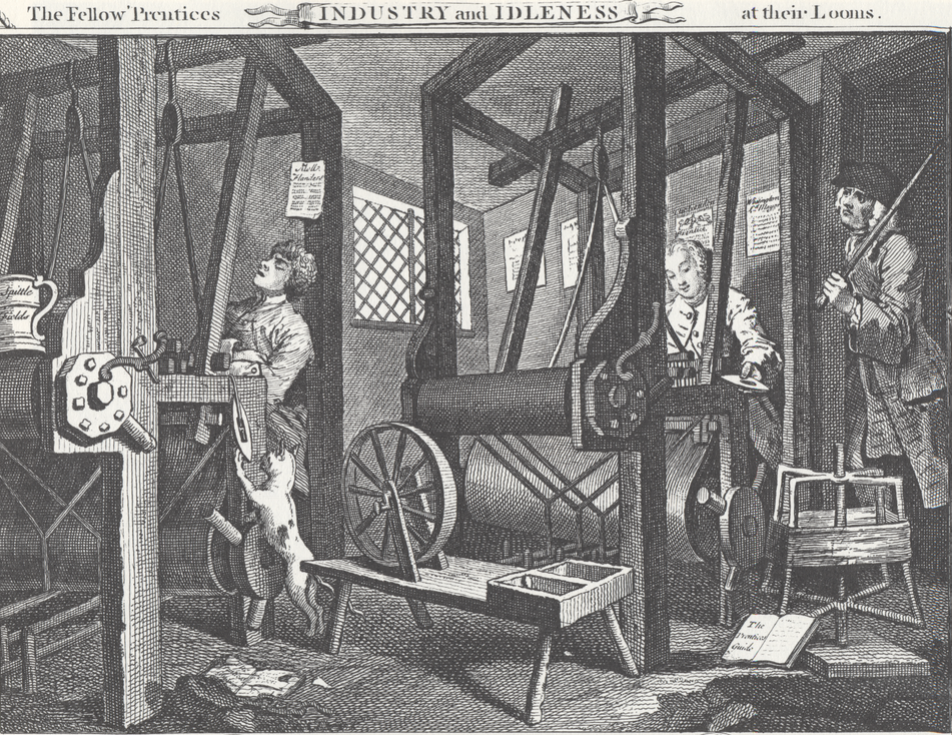 """Hogarth """"The Fellow 'Prentices at Their Looms"""" from  Industry and Idleness  (1747)"""