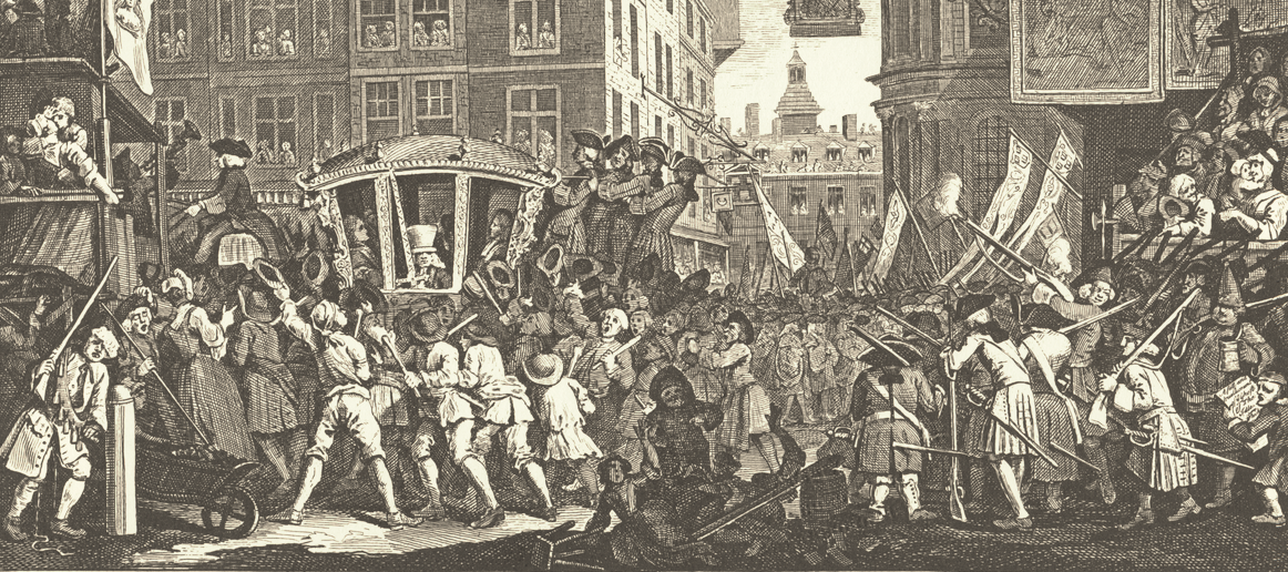 """Hogarth, """"The Industrious Prentice, Lord Mayor of London"""" in  Industry and Idleness  (1747)"""