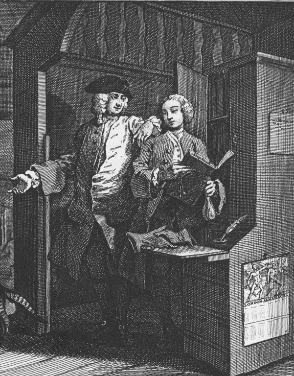 """Hogarth """"The Industrious 'Prentice a Favourite and enstrusted by his Master"""" from  Industry and Idleness  (1747)"""