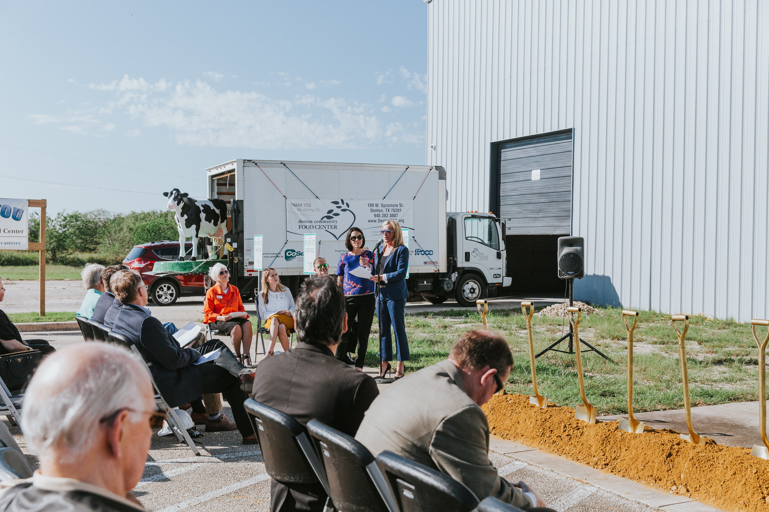 (Left to right) Selwyn Rayzor with J Newton Rayzor Foundation and Children's Advocacy Center for Denton County CEO Kristen Howell speaking at the Groundbreaking Ceremony.