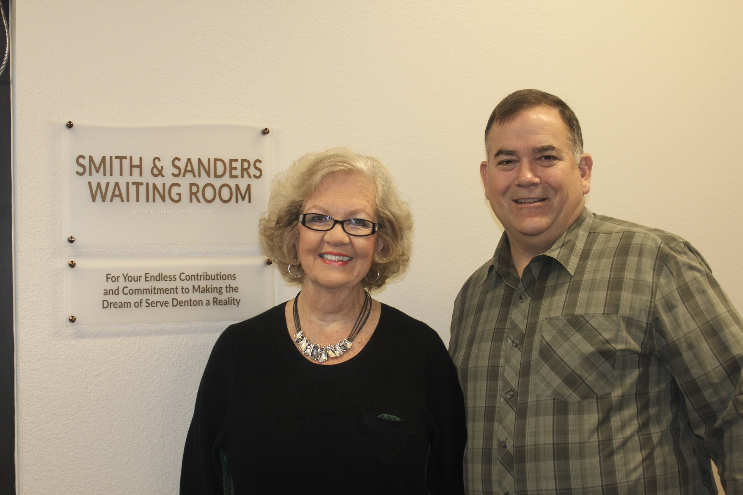 Priscilla Sanders and Pat Smith in the Serve Denton Center Waiting Room that was named after them in honor of their endless contributions.