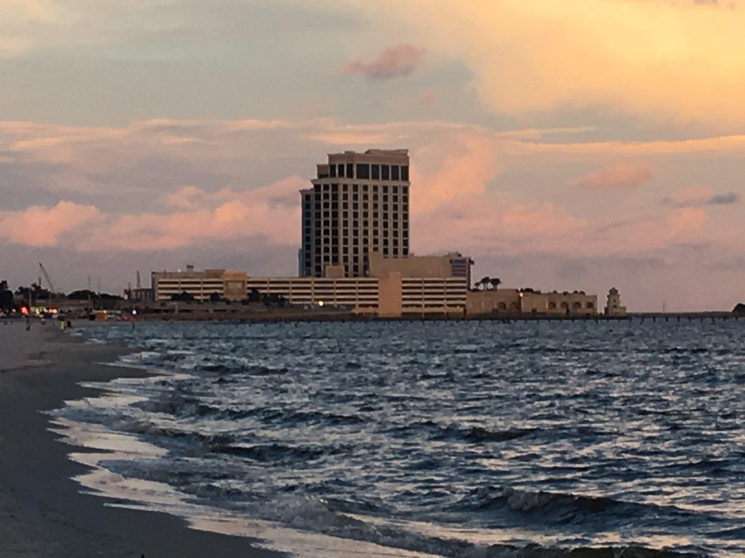 Sunset with hotel in Biloxi.JPG