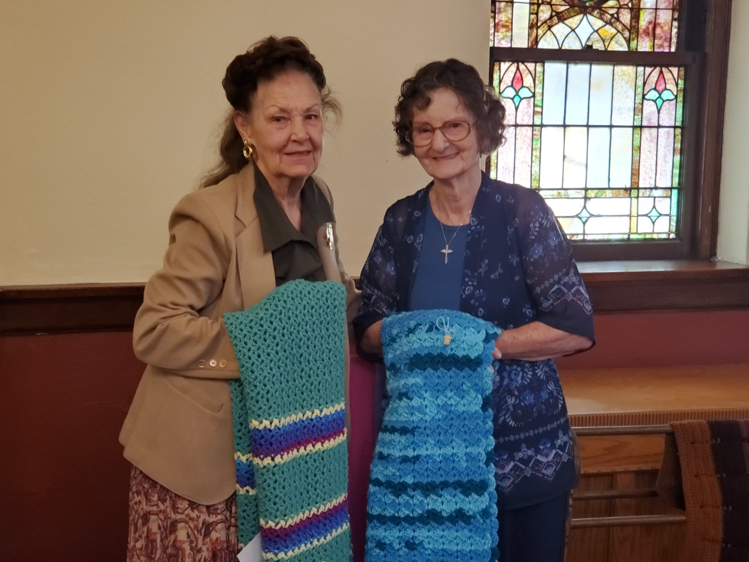 Jean Libby and Billie Fullerton, our Prayer Shawl Warriors.