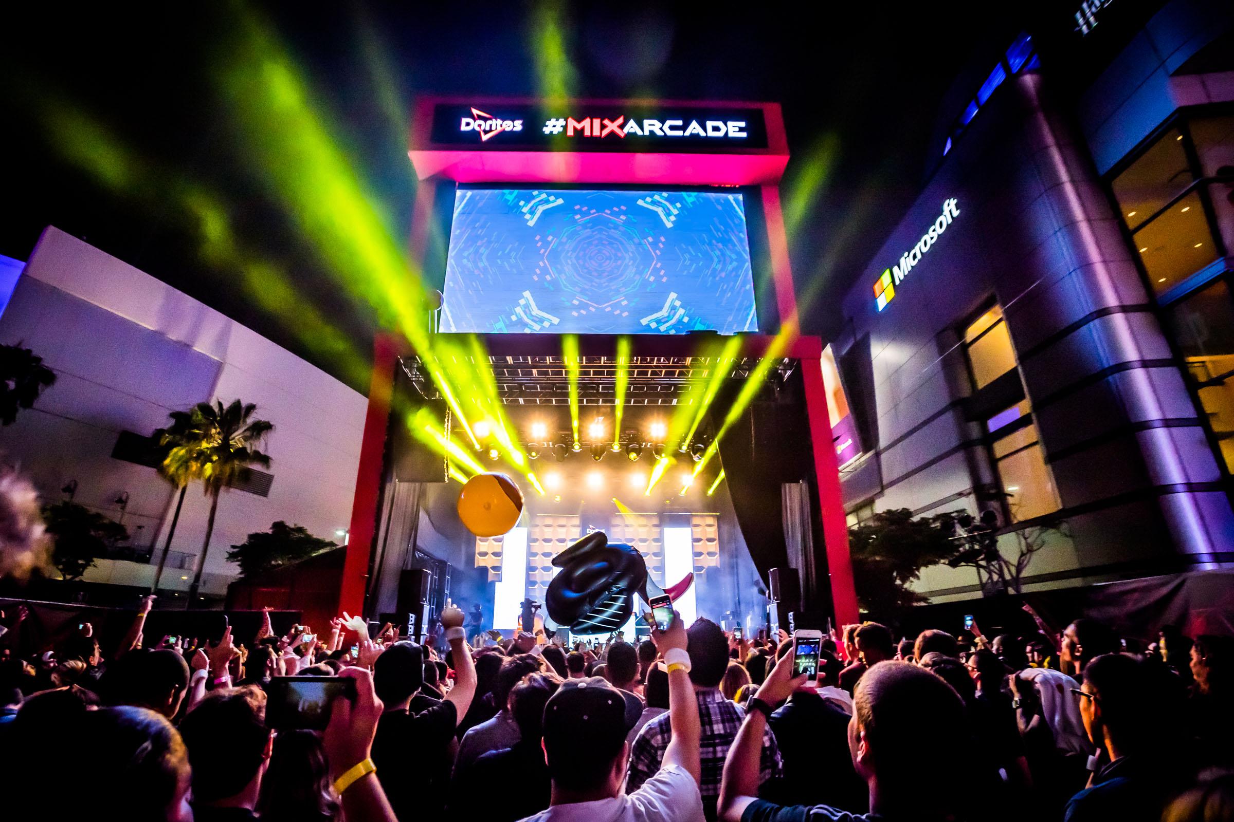 Staples Center, Doritos #mixarcade E3 gaming event.Los Angeles