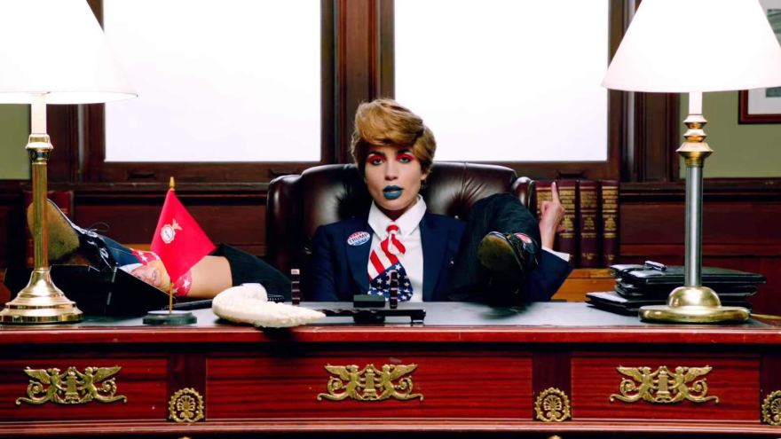 """Still from Pussy Riot's new Trump-themed music video, """"Make America Great Again."""""""
