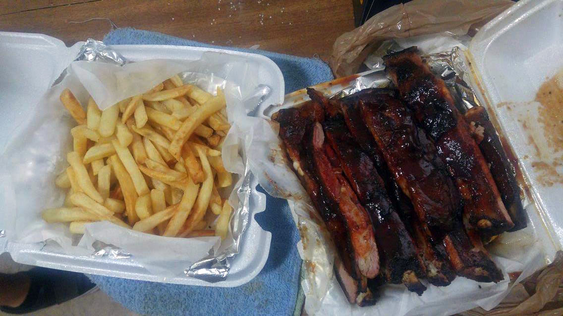 Fries and ribs from  Papa's BBQ . Photo by Michael Penn II.