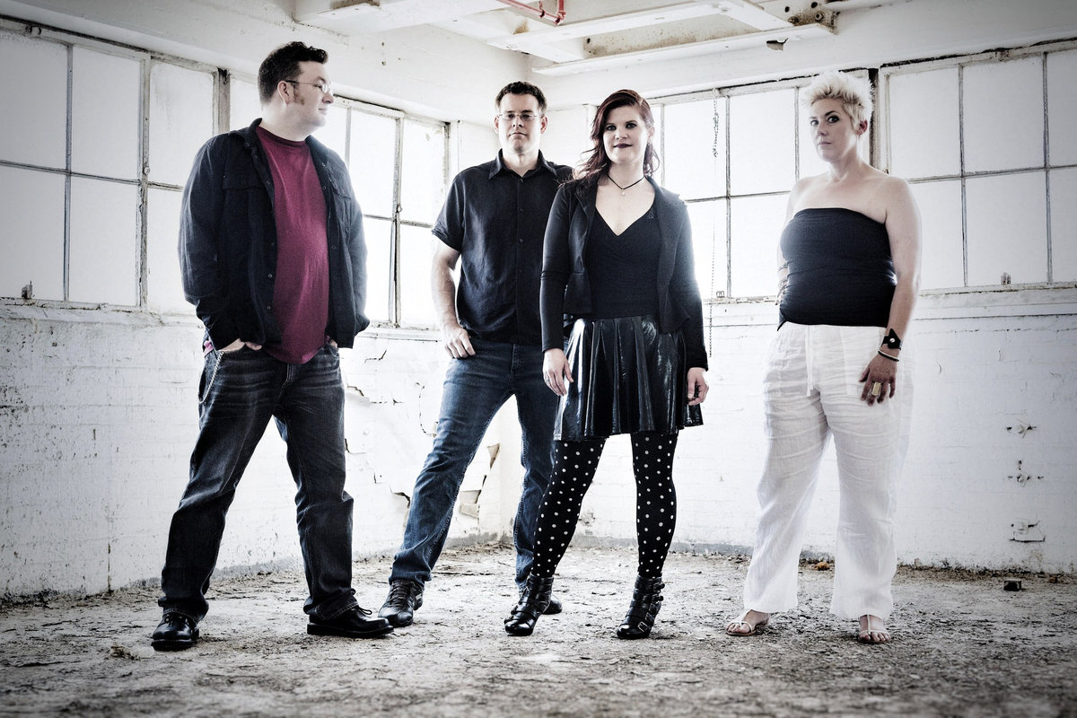 Null Device are, from left to right, Eric Oehler, Eric Goedken, Jill Sheridan, and Kendra Kreutz. Photo by Eric Tadsen.