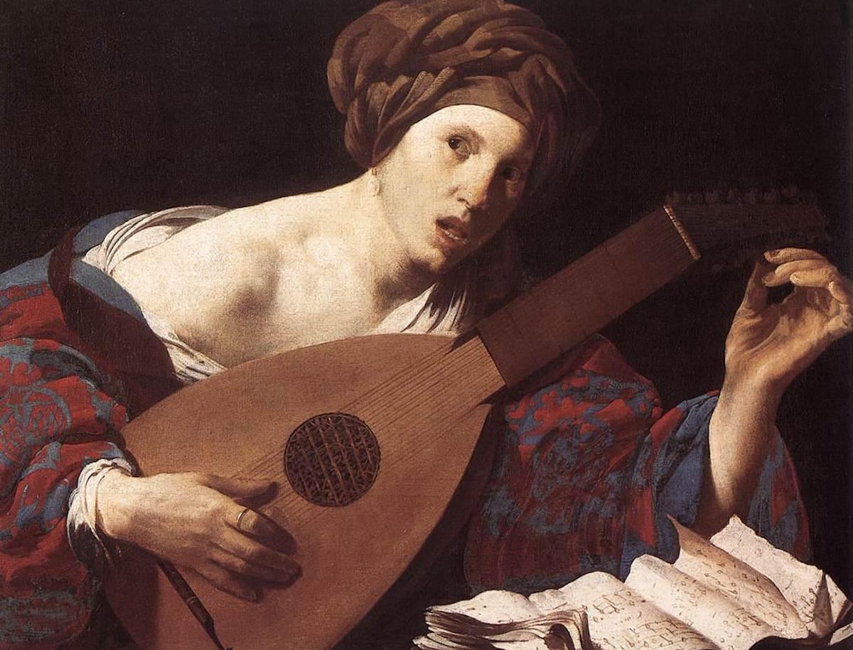 """""""Woman Playing The Lute"""" by Hendrick ter Brugghen. Image via Wikimedia Commons."""