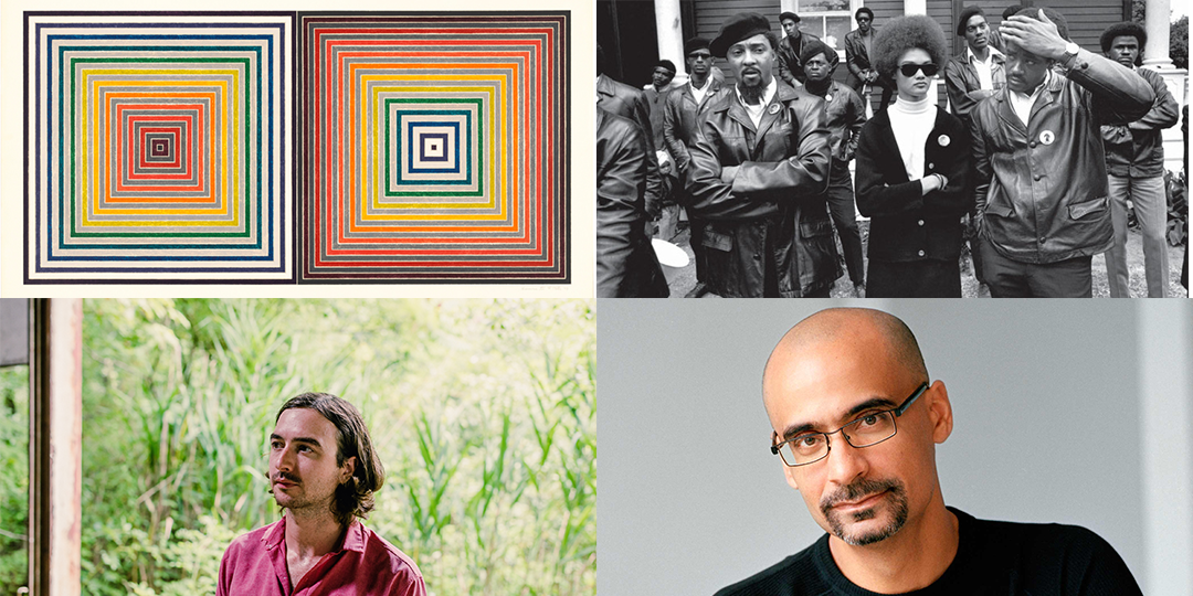 Clockwise from top left: MMOCA's Frank Stella retrospective opens February 5, The Black Panthers: Vanguard Of The Revolution screens February 9 at the Central Library, Junot Díaz speaks February 8 at the Union Theater, and Martin Courtney plays February 6 at The Sett in Union South.