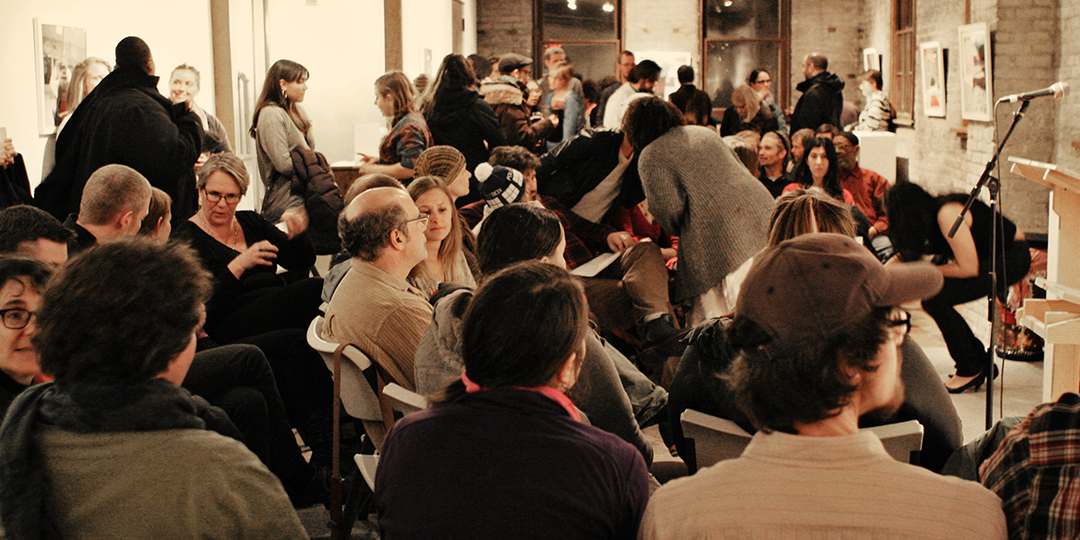 The crowd at a recent poetry reading at Arts + Literature Laboratory. Photo courtesy Jolynne Roorda.