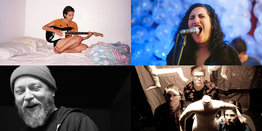 Clockwise from top left: Free Cake For Every Creature plays January 21 at Williamson Magnetic Recording Company; Palehound plays January 14 at the High Noon Saloon; Tenement plays January 15 at the Majestic; and Kyle Kinane plays January 14 through 16 at the Comedy Club on State.