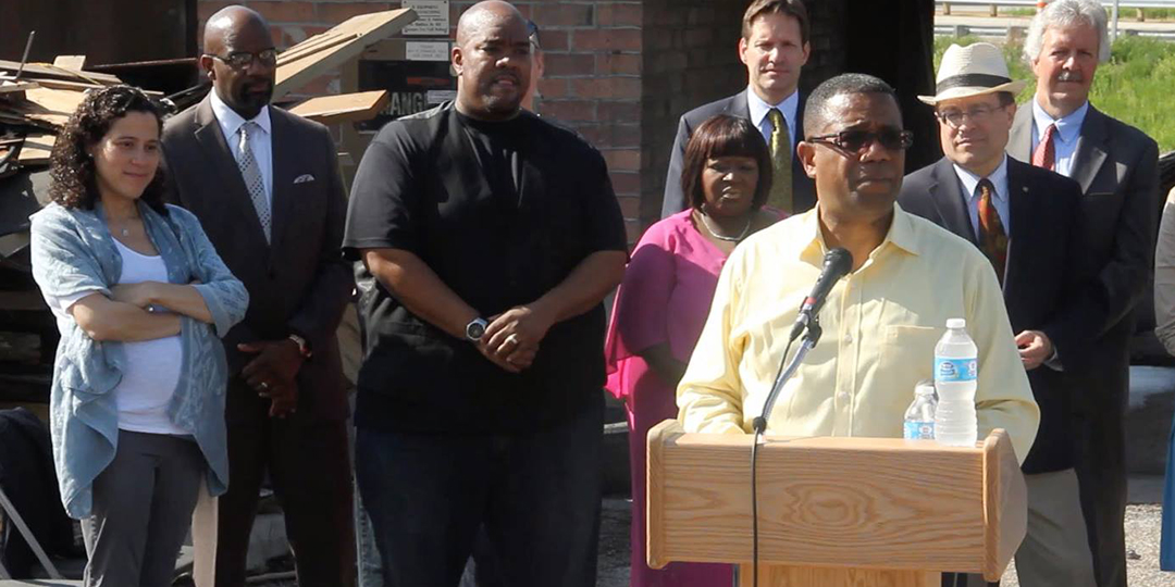 """Rev. Alex Gee of the Nehemiah Center speaks in footage from """"Forward: Anger Into Action."""""""