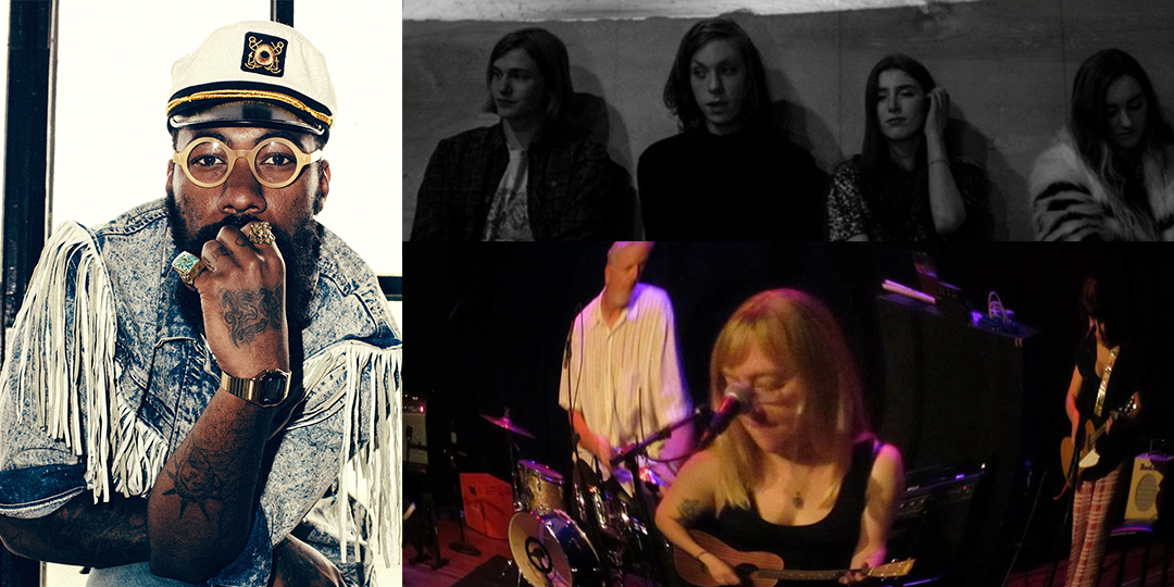 Clockwise from left: F. Stokes plays The Frequency on December 26, Moonwalks play Mickey's Tavern on December 26, and The Tiny Band plays the High Noon on December 29.