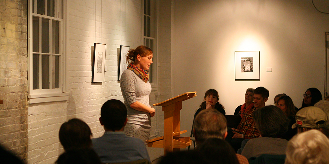 Poet Angela Voras-Hills reads at Arts + Literature Laboratory's Watershed Reading Series event on November 12.