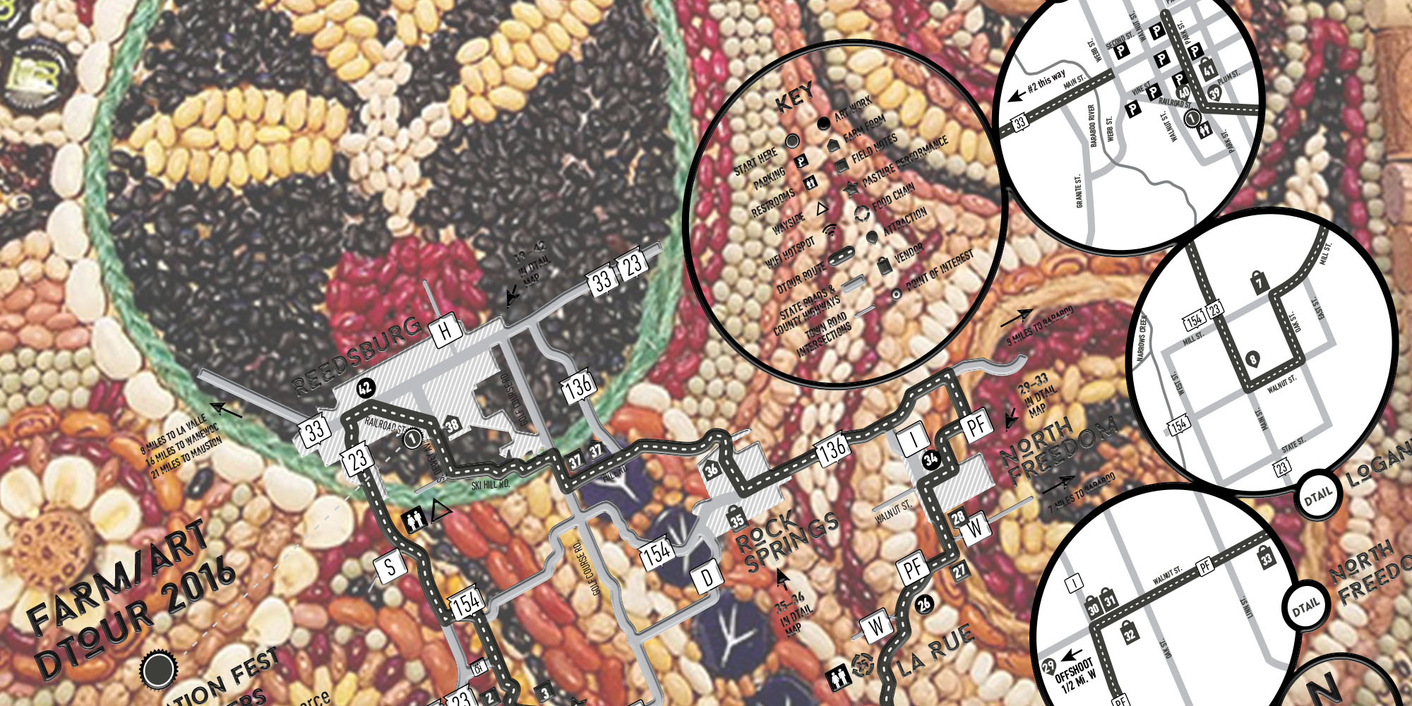 Baraboo artist Beth Persche's seed mosaic was among the pieces in 2016's Farm/Art DTour. Images courtesy Wormfarm Institute, illustration by Scott Gordon.