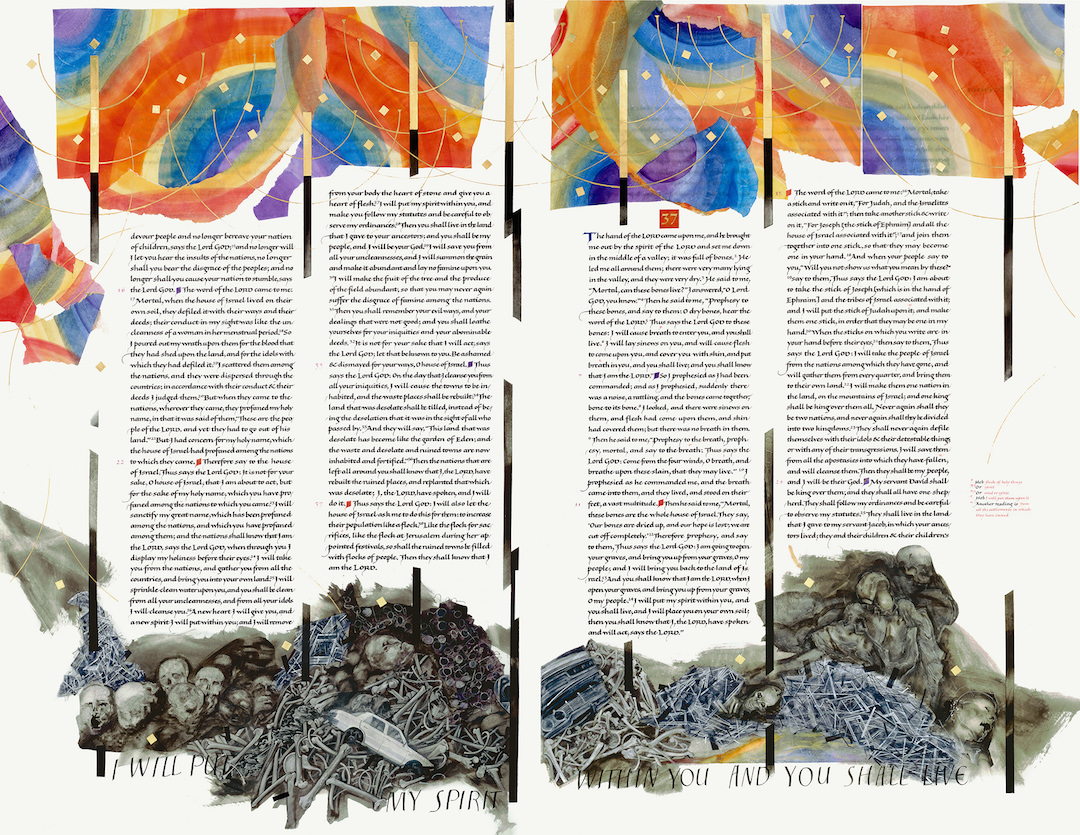 Valley of the Dry Bones (Ezekiel 36:15 – 37:25), Donald Jackson (artist) and Susie Leiper (scribe), Copyright 2005, The Saint John's Bible.