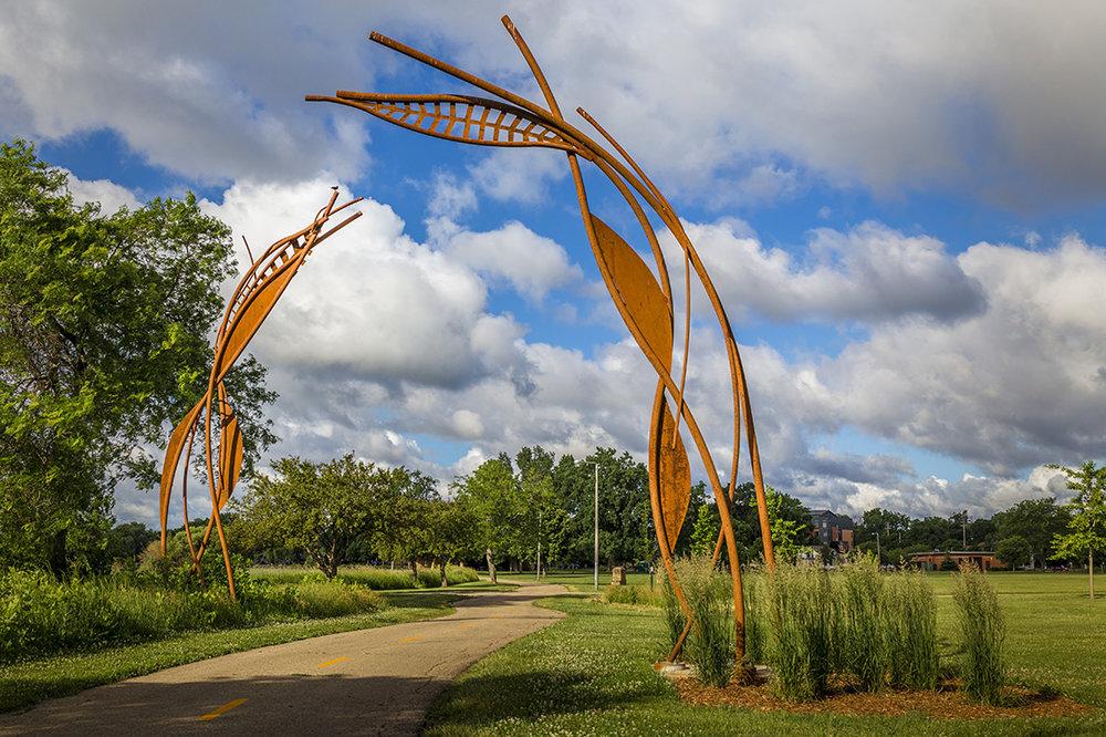 """Updraft"" by Mike Burns, in Brittingham Park. Photo via  mbmetalworks.com ."